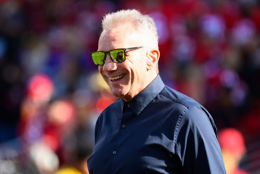 Former 49ers quarterback Joe Montana looks on during the NFC Divisional Playoff game