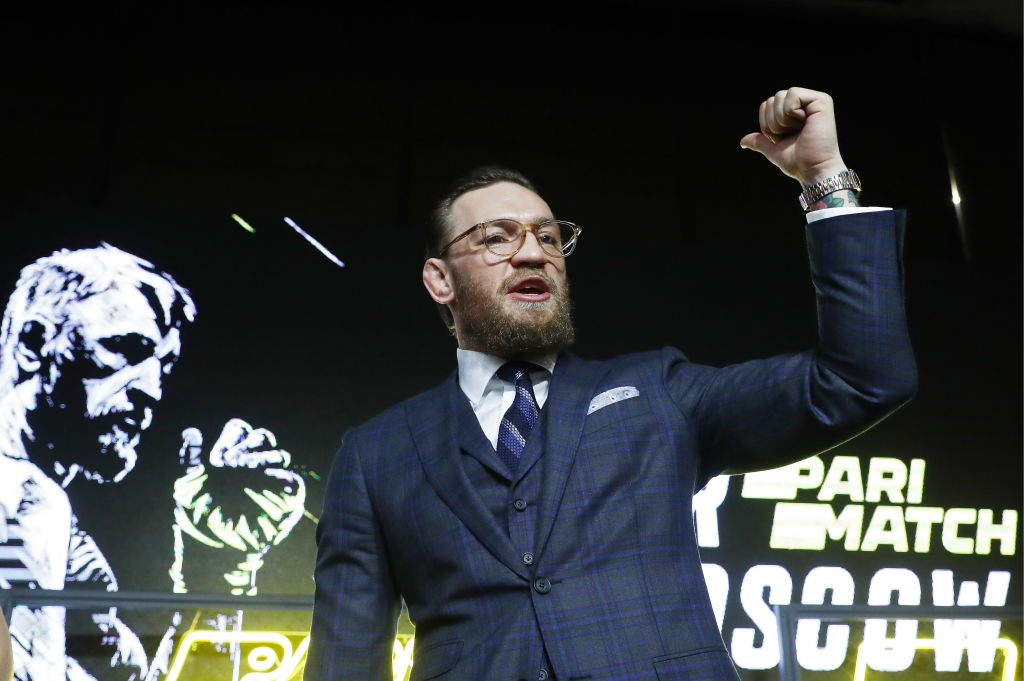Former UFC lightweight champion, Irish mixed martial artist Conor McGregor, gives a press conference.