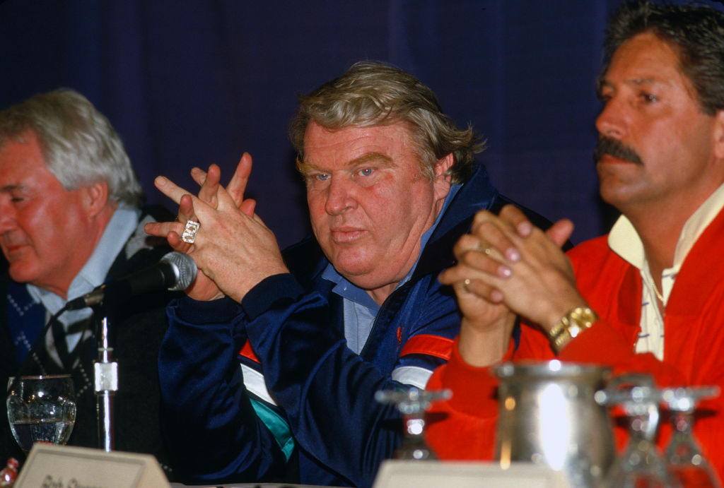 Former head coach John Madden of the Oakland Raiders at a press conference in 1986