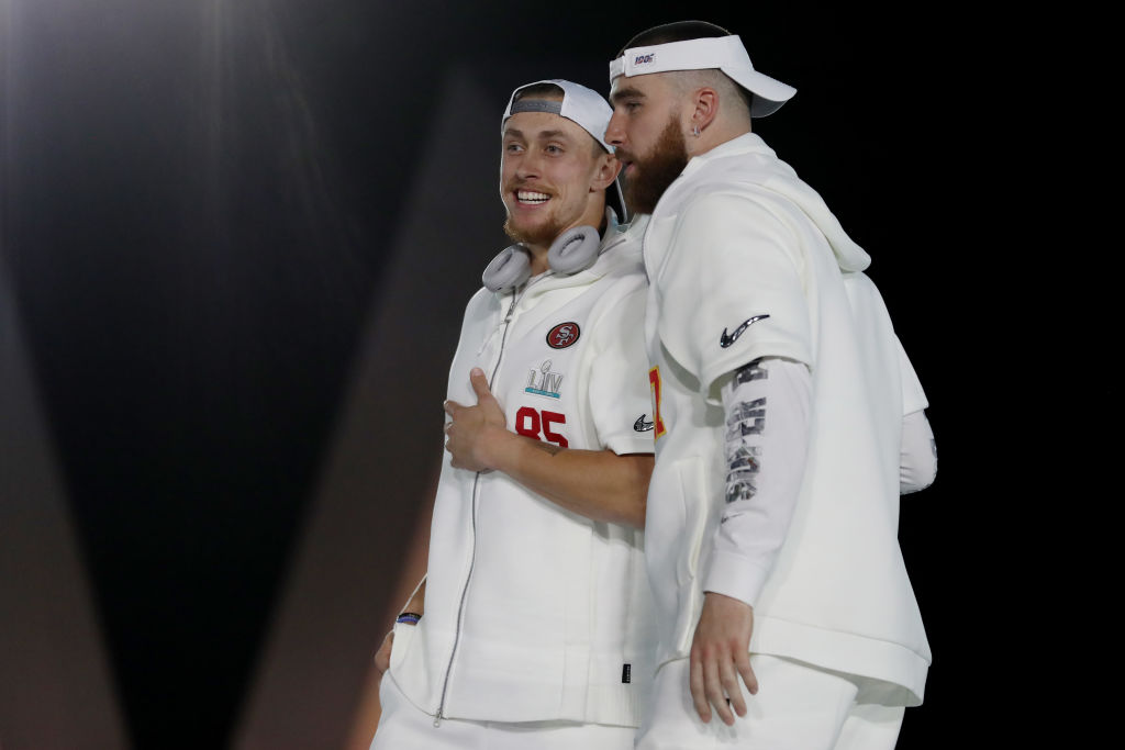 Tight end George Kittle of the 49ers and tight end Travis Kelce of the Chiefs take part in Super Bowl Opening Night