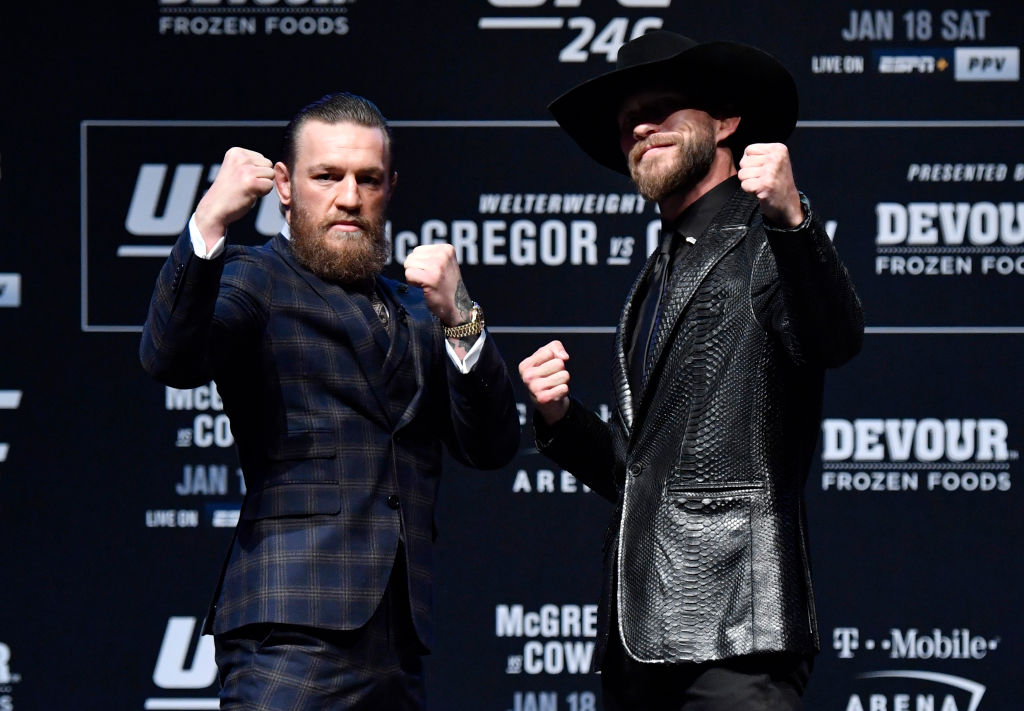 George St-Pierre says there's one thing Donald Cerrone (right) needs to do to defeat Conor McGregor at UFC 246.