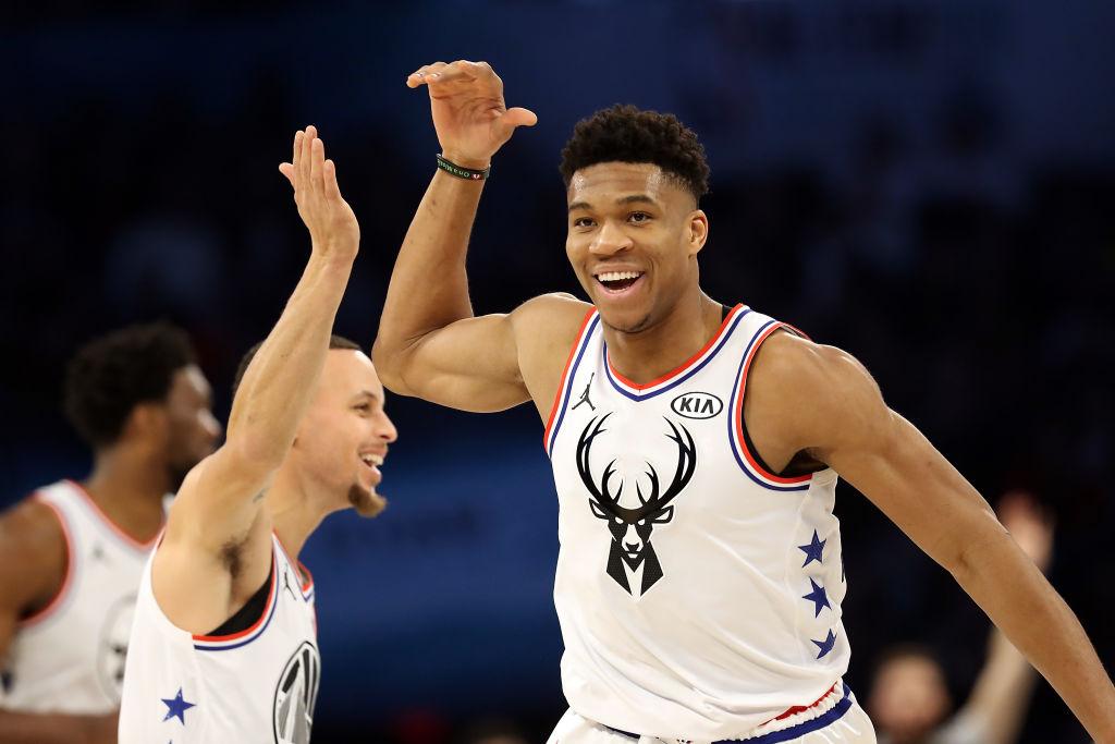 Bucks forward Giannis Antetokounmpo and Warriors guard Stephen Curry