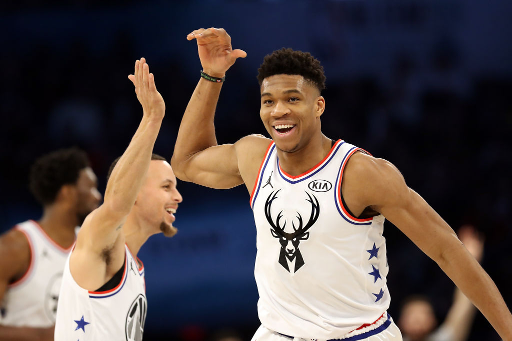 Bucks forward Giannis Antetokounmpo and Warriors guard Stephen Curry