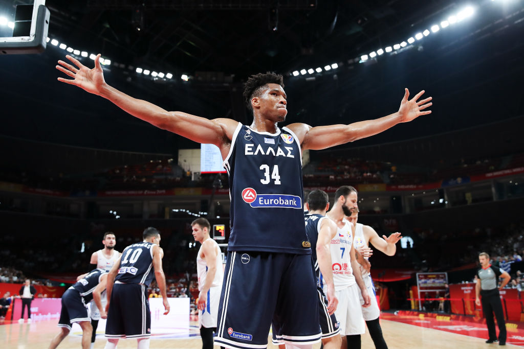 Giannis Antetokounmpo of Greece in action during FIBA World Cup 2019
