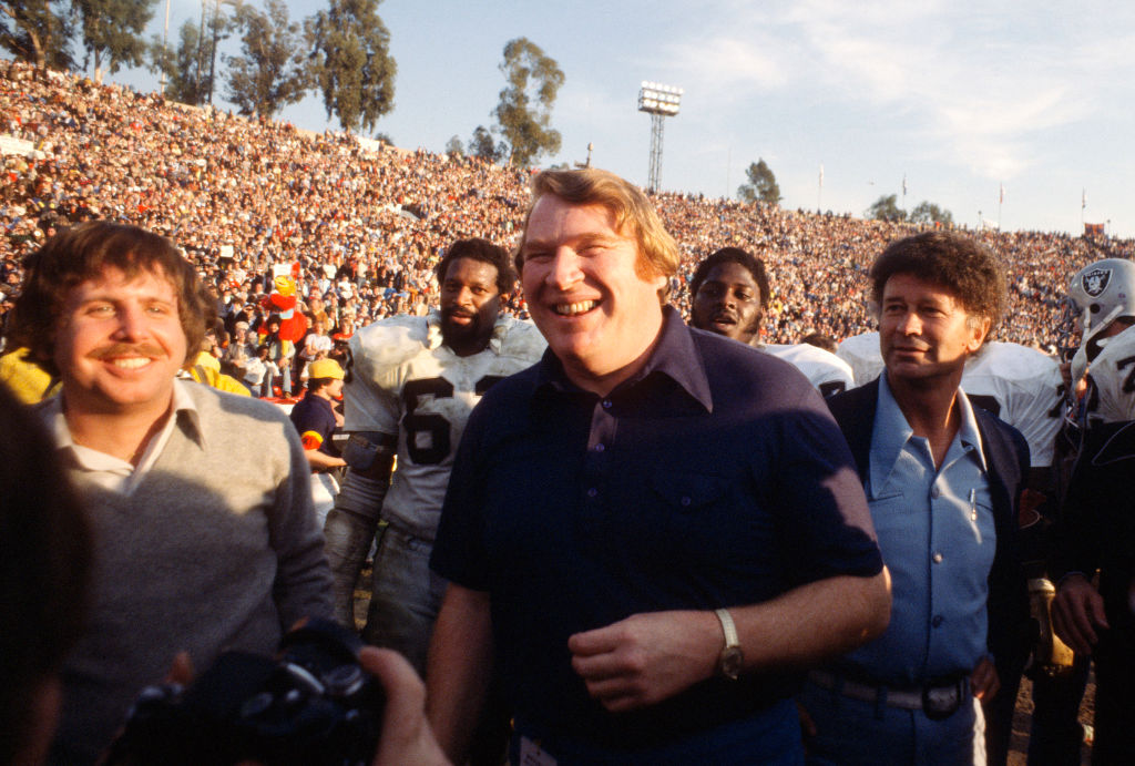 Head Coach John Madden of the Oakland Raiders celebrates after they defeated the Minnesota Vikings in Super Bowl XI in 1977
