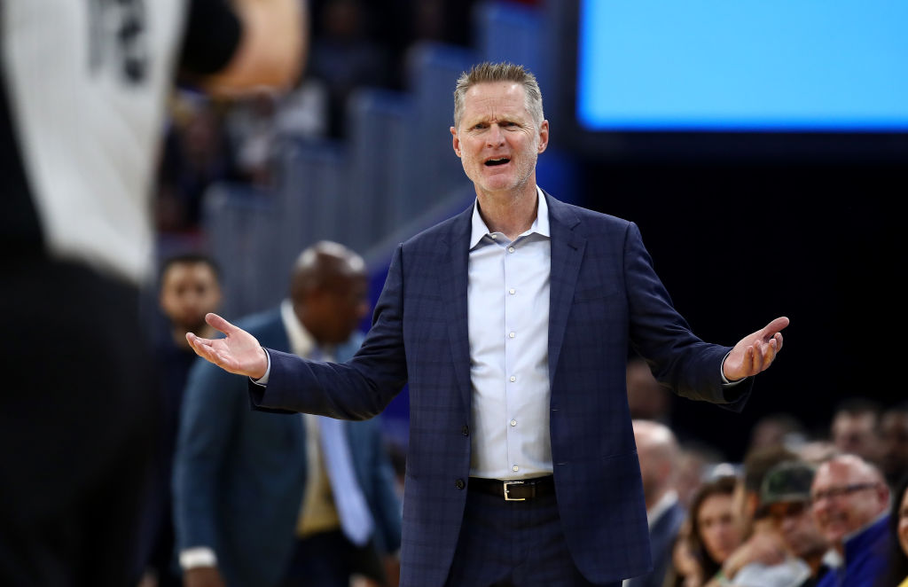 Head coach Steve Kerr of the Golden State Warriors complains about a call