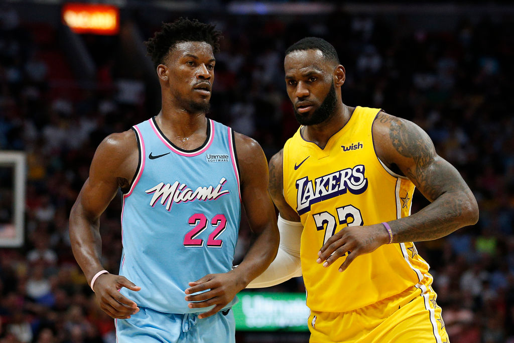 Heat forward Jimmy Butler and Lakers forward LeBron James
