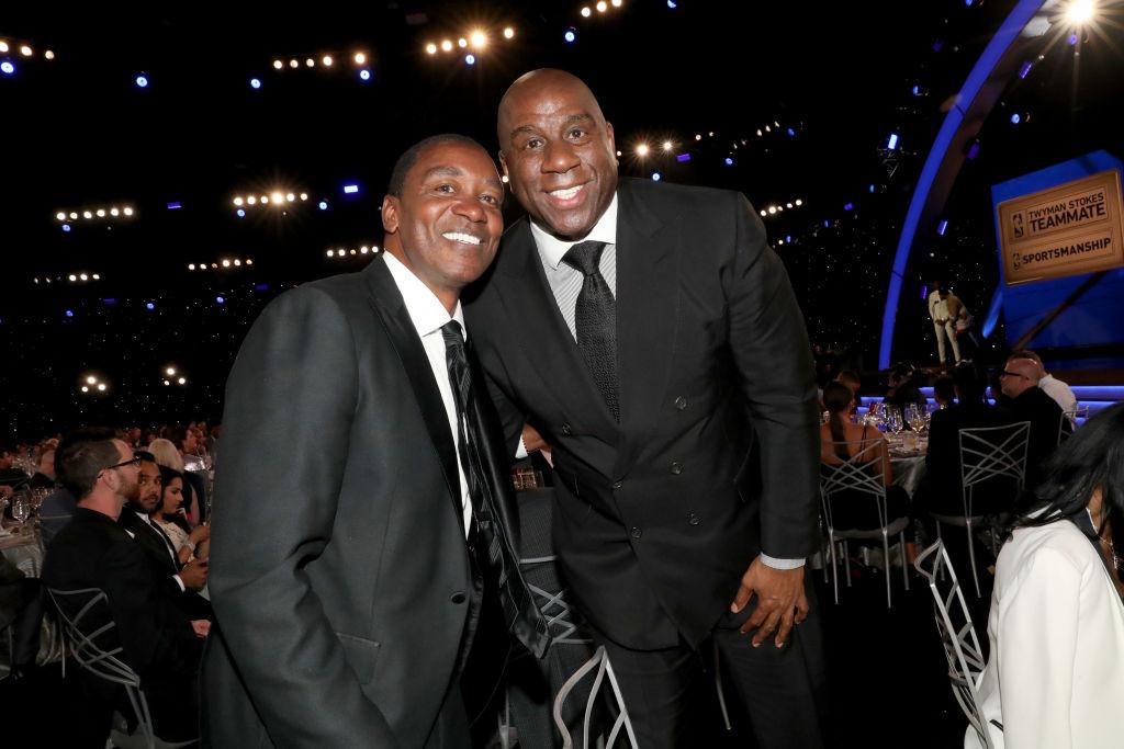 Isiah Thomas and Magic Johnson attend the 2019 NBA Awards