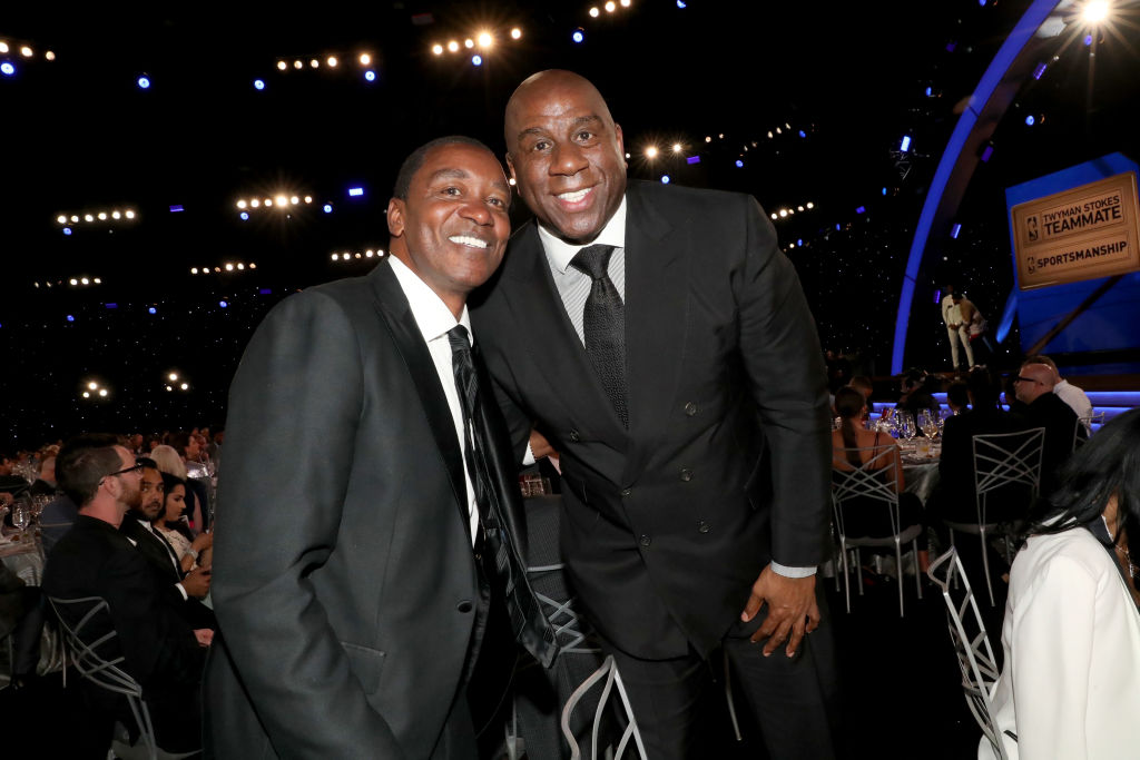 Isiah Thomas and Magic Johnson attend the 2019 NBA Awards