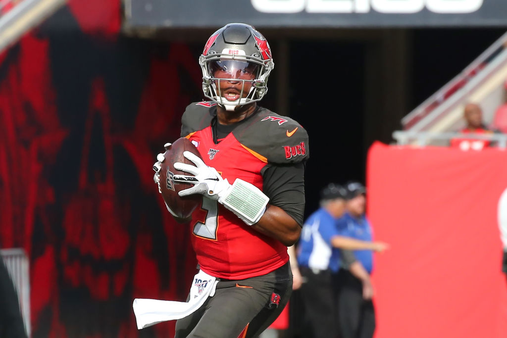 Jameis Winston of the Buccaneers looks for an open receiver