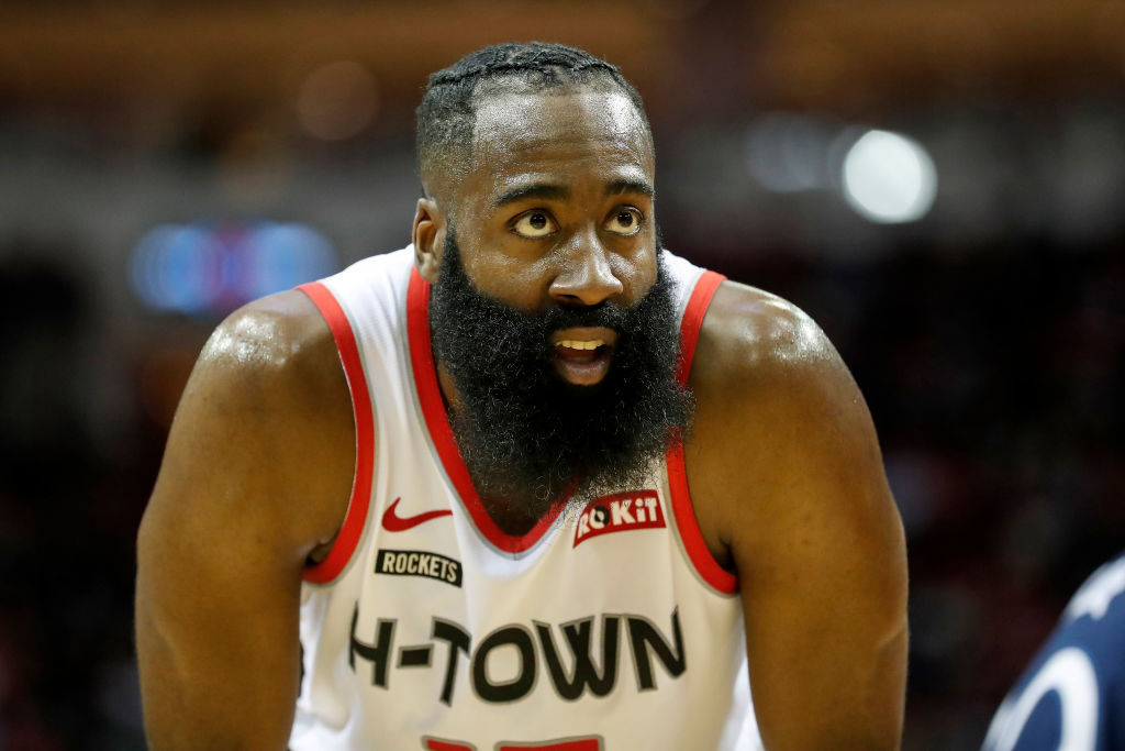 James Harden of the Houston Rockets reacts against the Minnesota Timberwolves