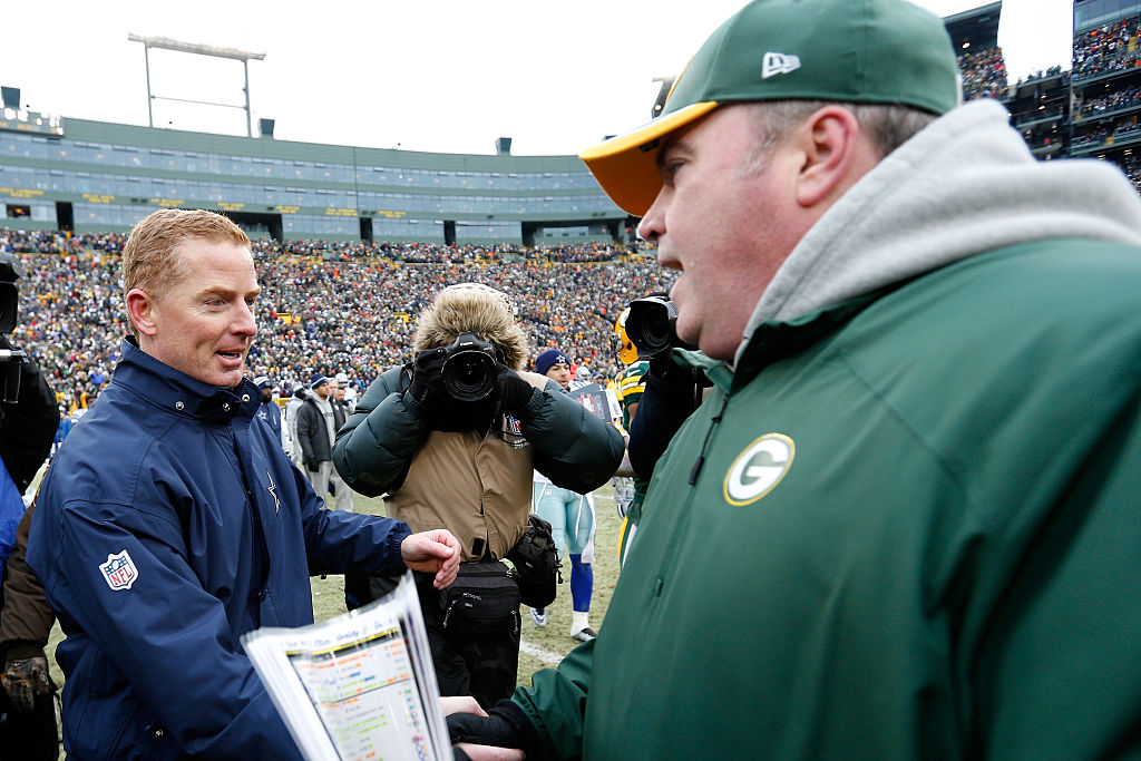 Former Cowboys head coach Jason Garrett and head coach Mike McCarthy