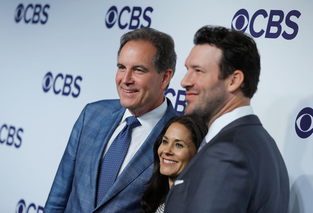 Jim Nantz ,Tracy Wolfson and Tony Romo attend a CBS event
