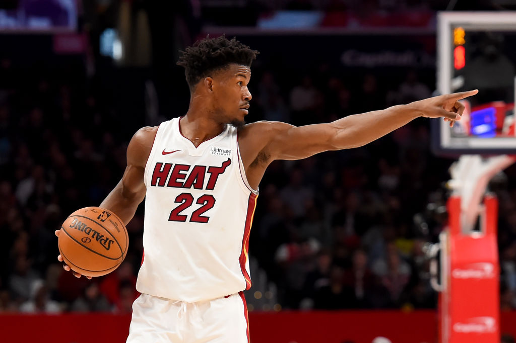 Jimmy Butler of the Miami Heat dribbles against the Washington Wizards