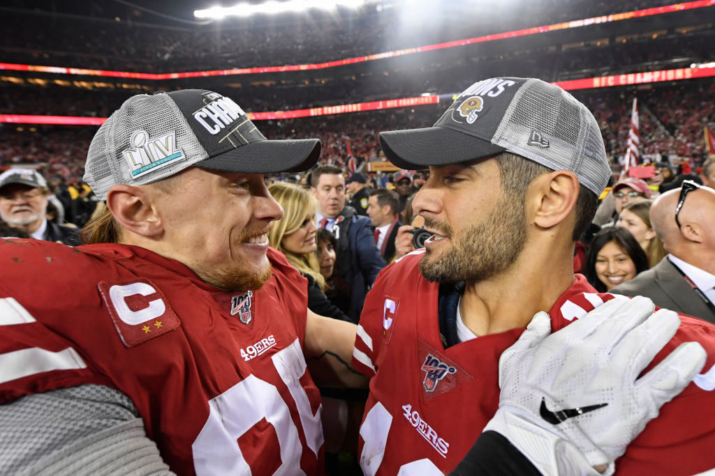 49ers teammates Jimmy Garoppolo and George Kittle