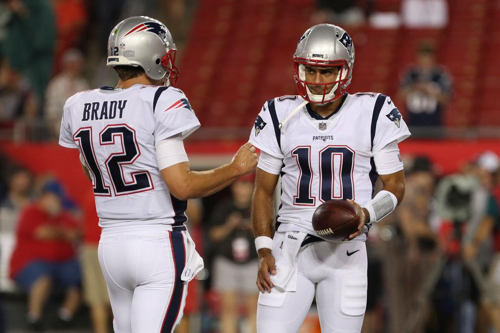 Former Patriots teammates Jimmy Garoppolo and Tom Brady