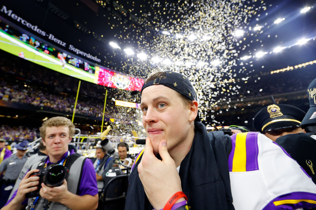 Joe Burrow of the LSU Tigers celebrates after defeating the Clemson Tigers