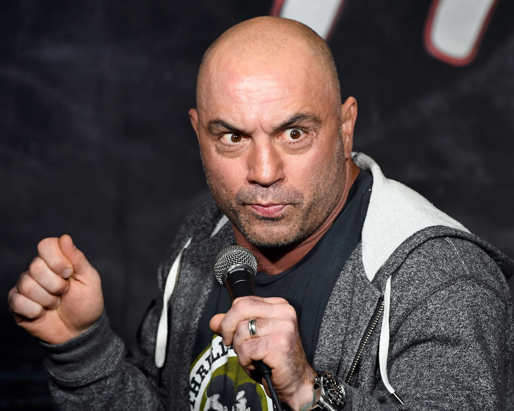 Comedian Joe Rogan performs during his appearance at The Ice House Comedy Club