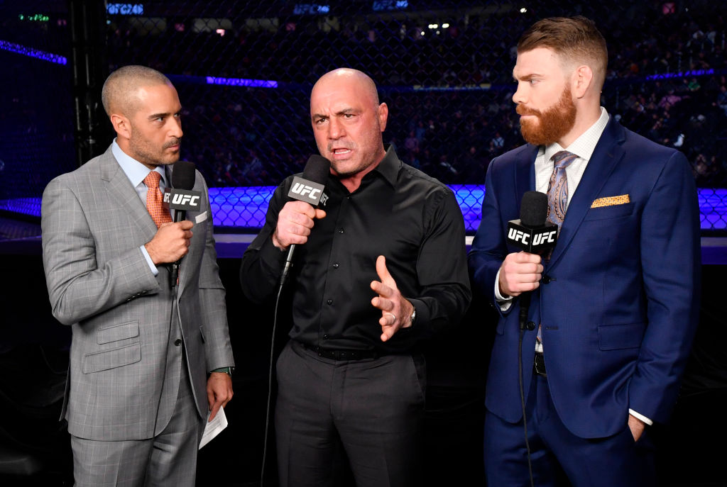 (L-R) Jon Anik, Joe Rogan, and Paul Felder anchor the broadcast for the UFC 246 event in Las Vegas, Nevada.