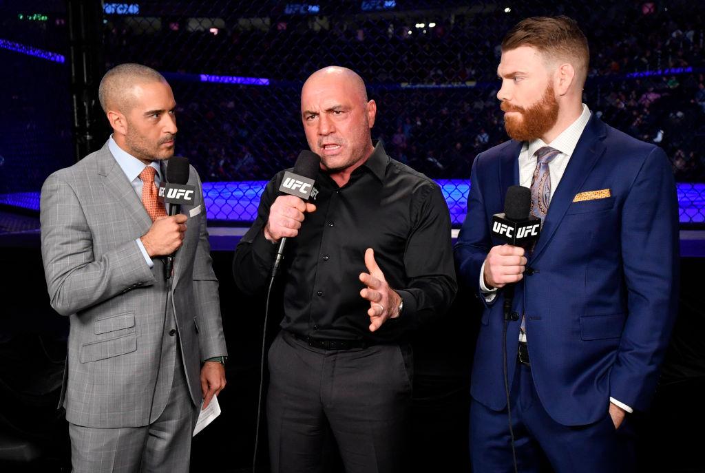 (L-R) Jon Anik, Joe Rogan, and Paul Felder anchor the broadcast for the UFC 246 event in Las Vegas, Nevada.