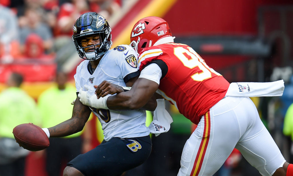 Kansas City Chiefs defensive end Emmanuel Ogbah sacks Ravens quarterback Lamar Jackson