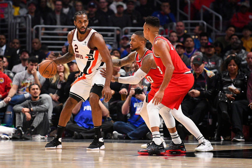 Clippers forward Kawhi Leonard and Blazers point guard Damian Lillard