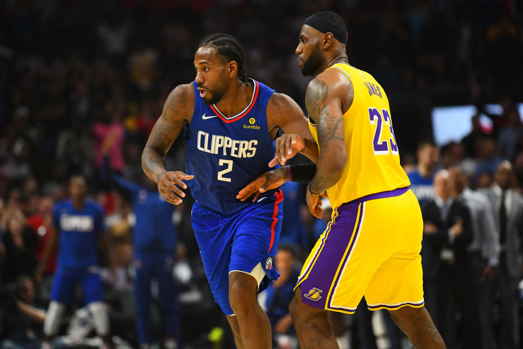 Clippers forward Kawhi Leonard and Lakers forward LeBron James