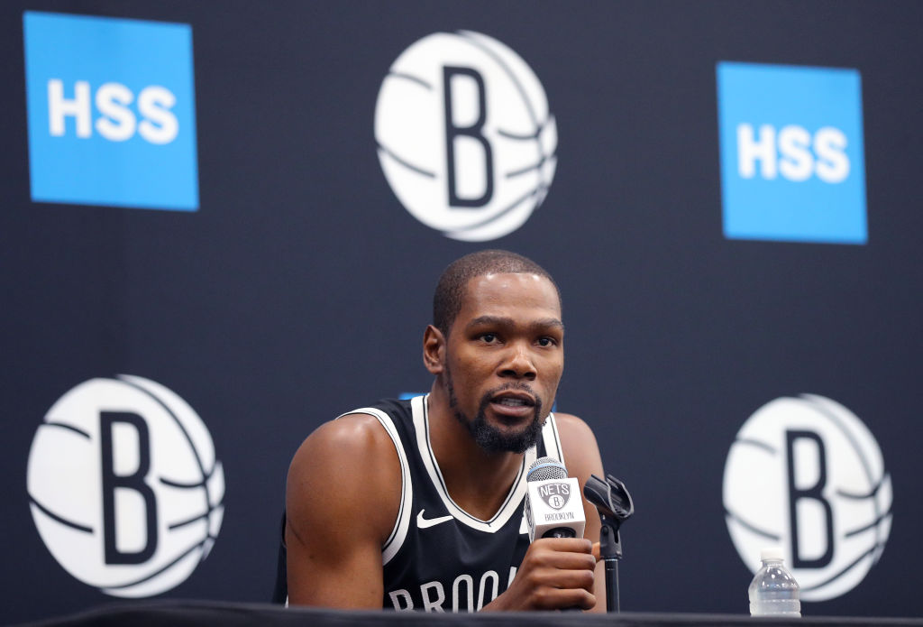 Kevin Durant of the Brooklyn Nets speaks to media