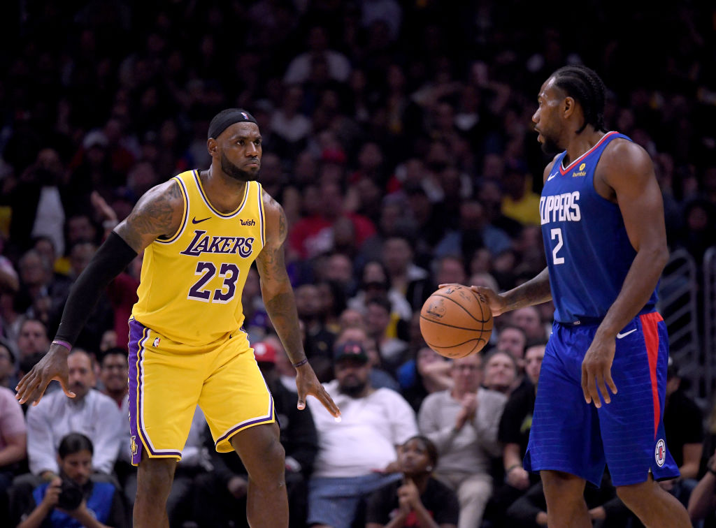 Lakers forward LeBron James and Clippers forward Kawhi Leoanrd