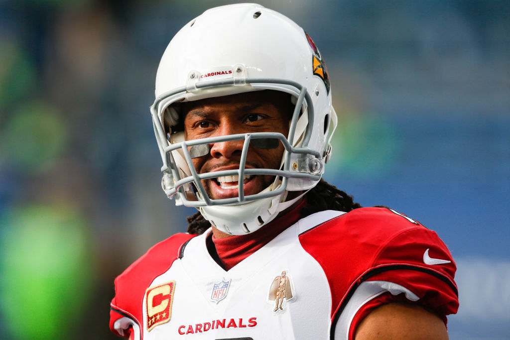 Larry Fitzgerald of the Arizona Cardinals during warm-ups
