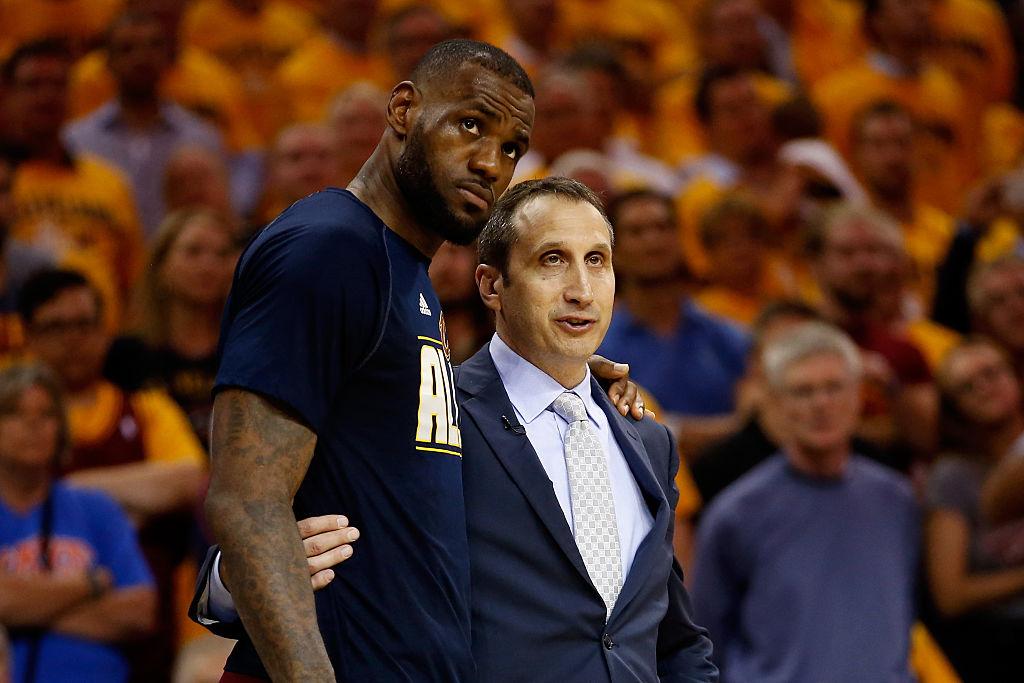 LeBron James of the Cleveland Cavaliers and head coach David Blatt speak in 2015