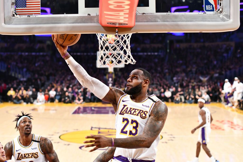 LeBron James of the Los Angeles Lakers goes in for a layup
