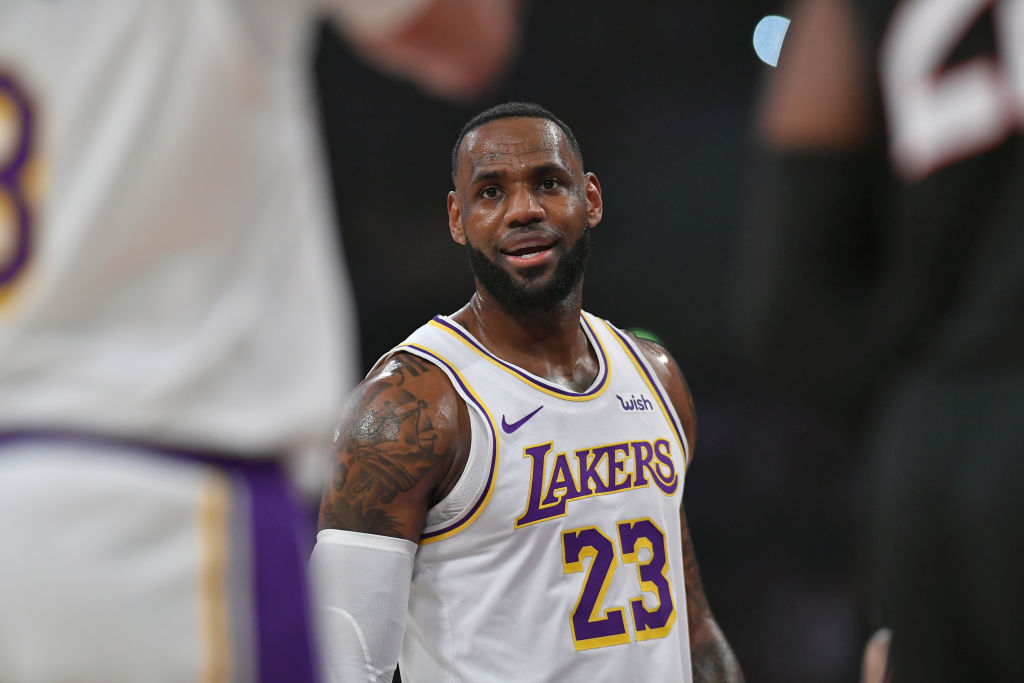 LeBron James of the Los Angeles Lakers plays at Staples Center
