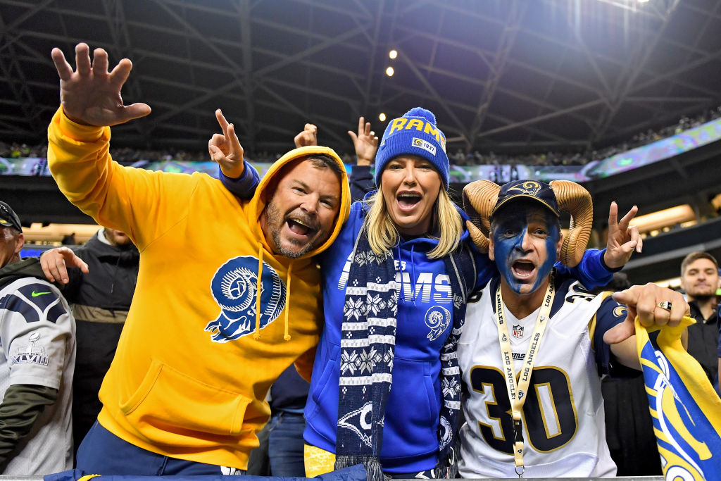 Los Angeles Rams fans are pumped during a game