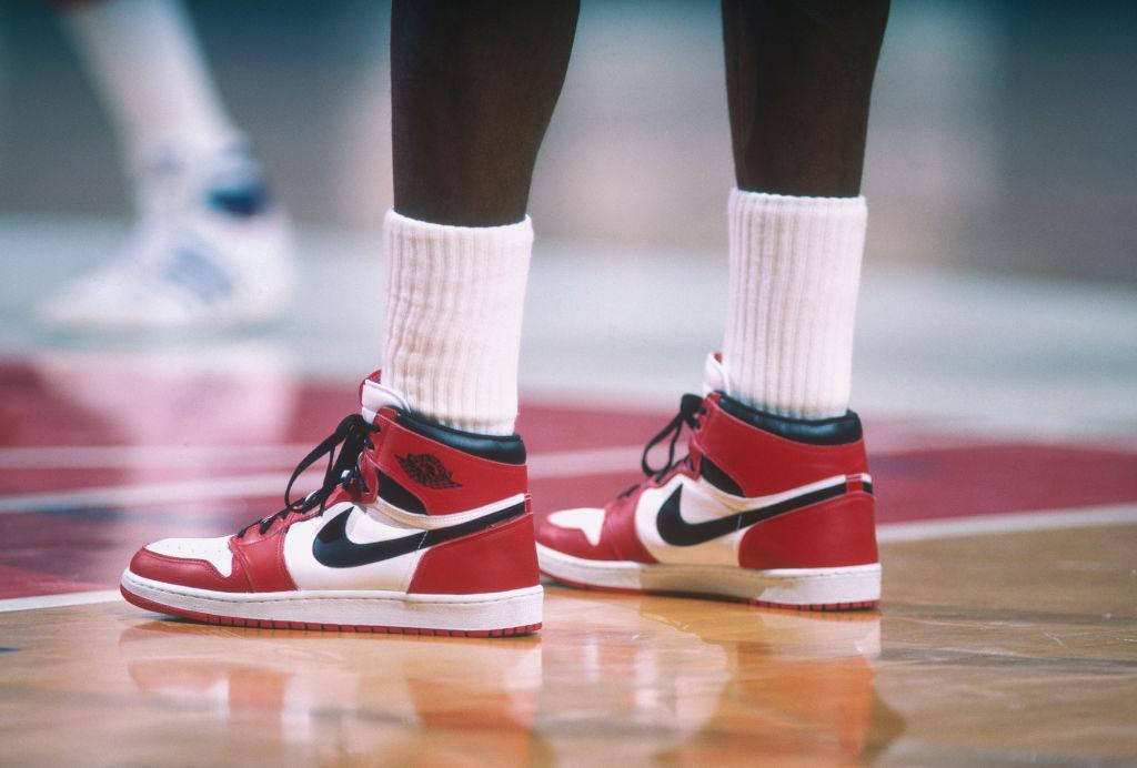 Details of the Air Jordan 1 Nike shoes worn by Chicago Bulls' center Michael Jordan in 1985