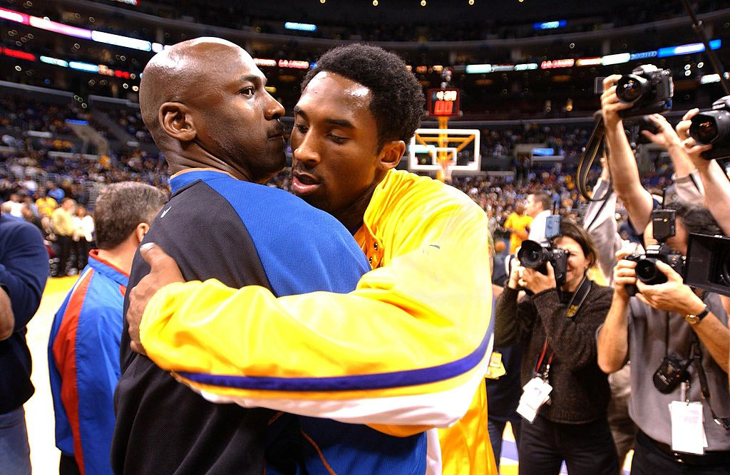 Michael Jordan (L) of the Washington Wizards and Kobe Bryant of the Los Angeles Lakers in 2002