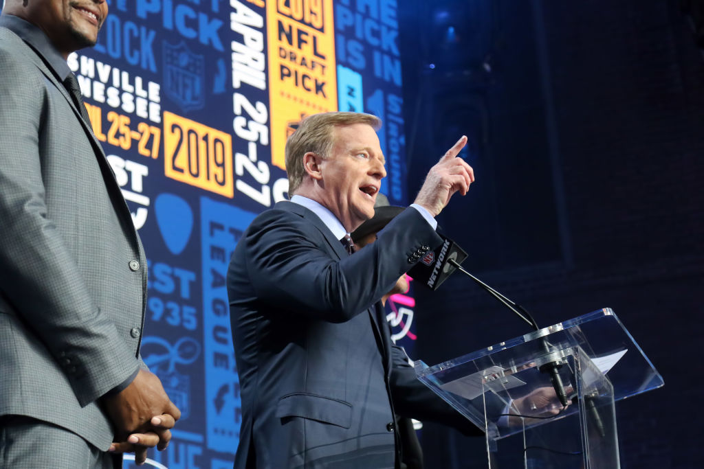 NFL Commissioner Roger Goodell speaks during the 2019 NFL Draft