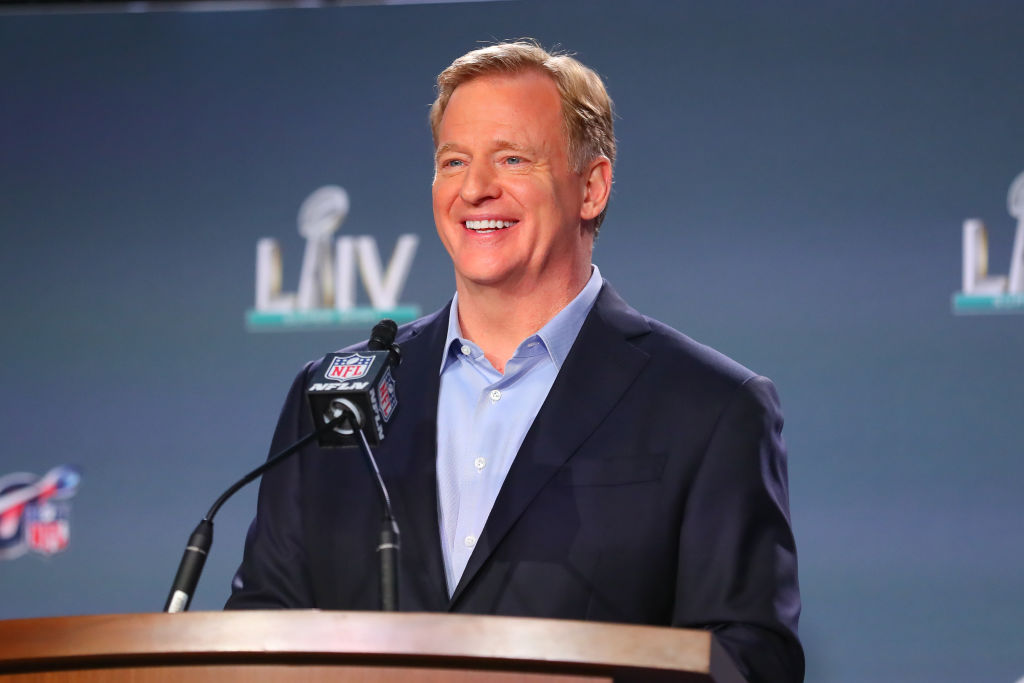 Commissioner Roger Goodell speaks during a press conference in 2020