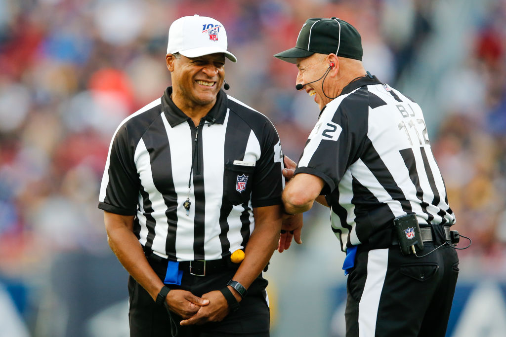 NFL referee Jerome Boger and back judge Tony Steratore having a laugh during a 2019 NFL game