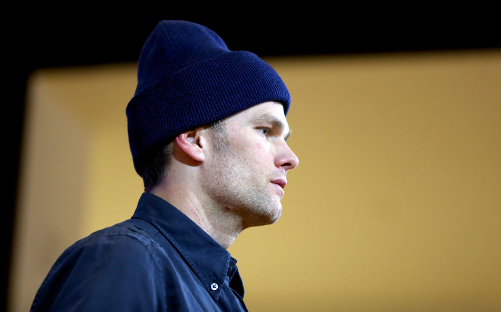 New England Patriots quarterback Tom Brady gives a post-game press conference