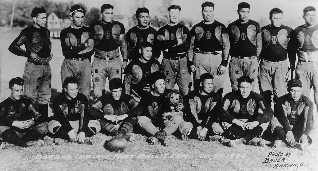 Portrait of the Oorang Indians American football team, Marion, Ohio, October 27, 1922