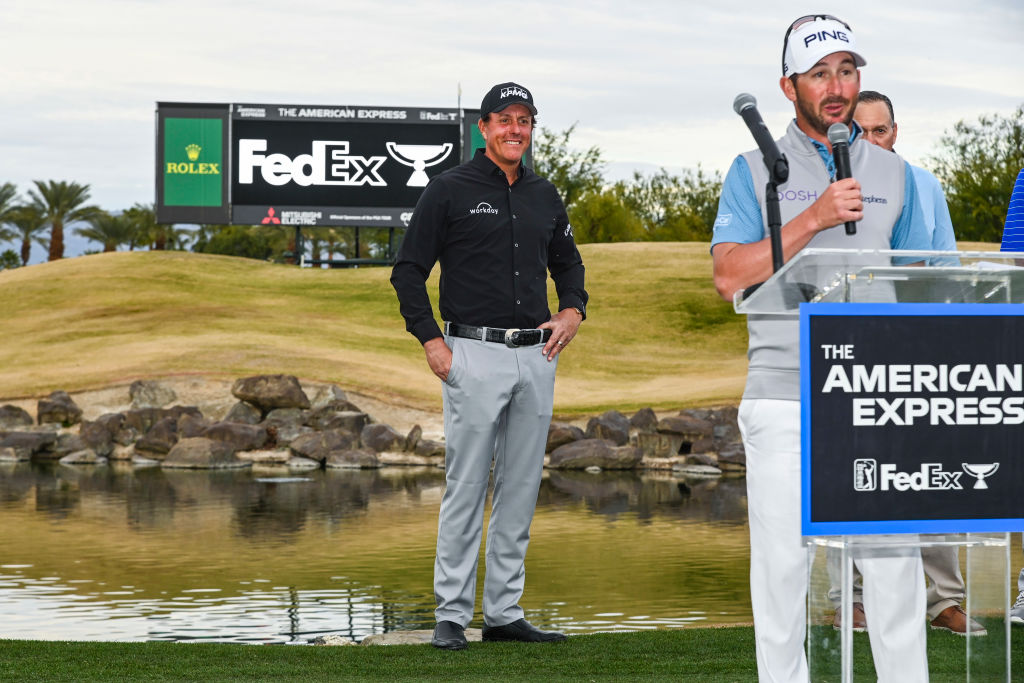 PGA tournament host Phil Mickelson smiles