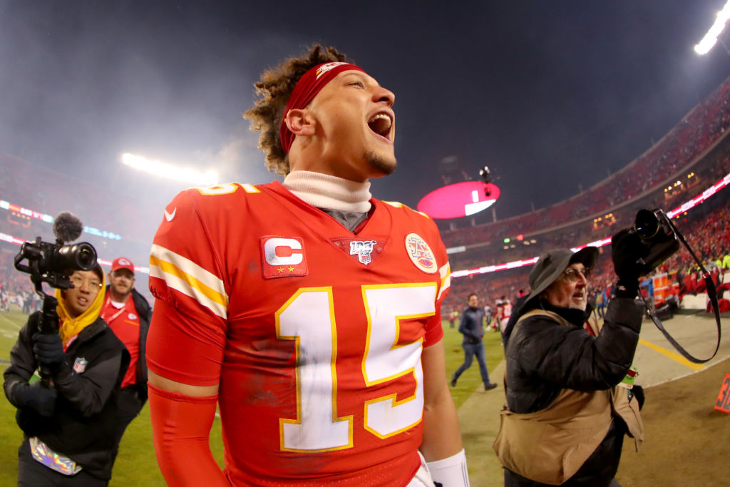 Patrick Mahomes of the Kansas City Chiefs celebrates his team's win