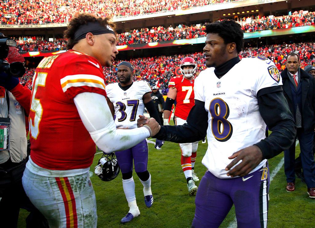 Chiefs quarterback Patrick Mahomes and Ravens quarterback Lamar Jackson
