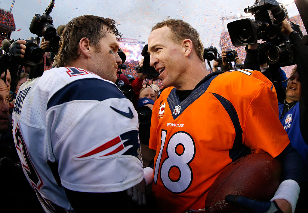 Peyton Manning of the Denver Broncos and Tom Brady of the New England Patriots speak after the 2016 AFC Championship game