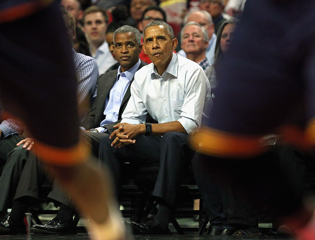 President Barack Obama watches the Chicago Bulls