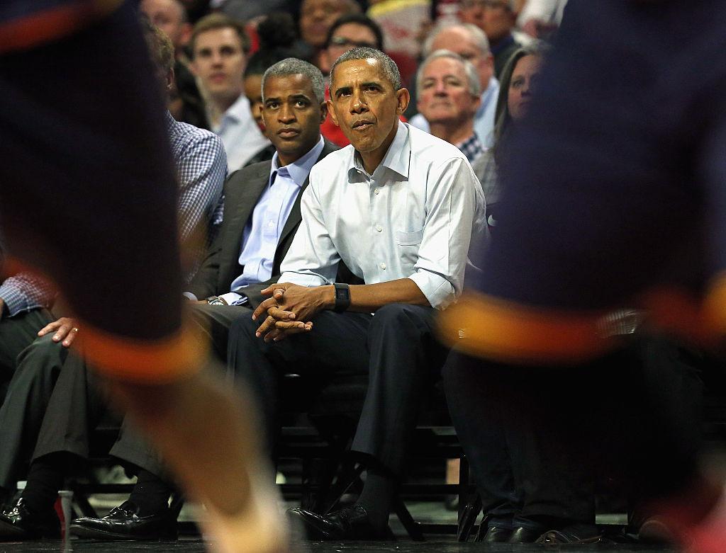 President Barack Obama watches the Chicago Bulls