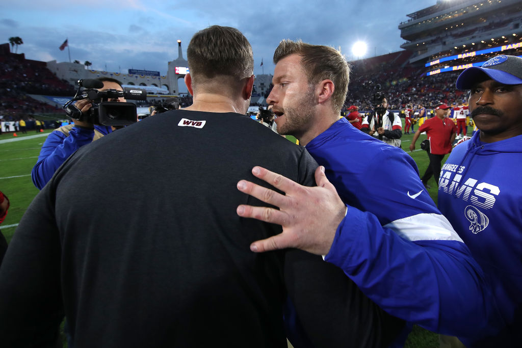 Head coach Kliff Kingsbury of the Arizona Cardinals meets head coach Sean McVay of the Los Angeles Rams