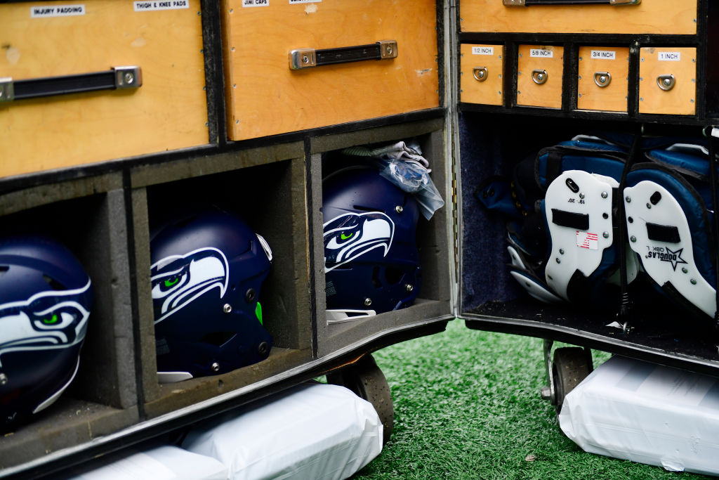 Seattle Seahawks helmets and pads are shown before a game