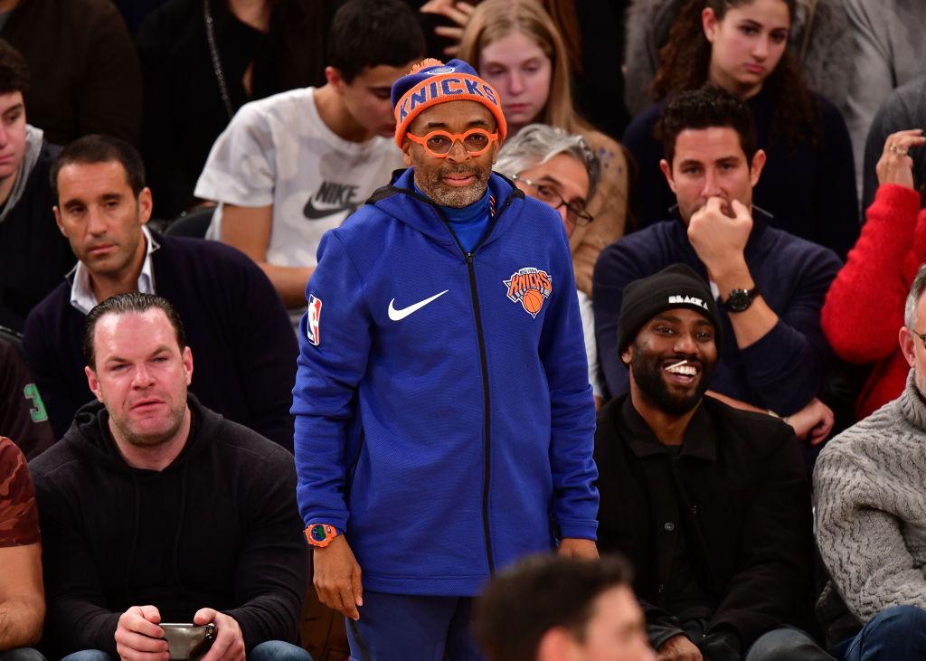 Spike Lee attends a Oklahoma City Thunder/New York Knicks game